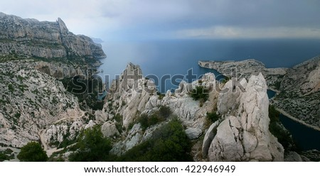 Calanques - Travel and Tourism in Provence - stock photo
