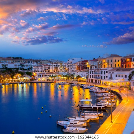 Calasfonts Cales Fonts Port sunset in Mahon at Balearic islands - stock photo