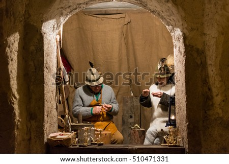 CALAVINO, Italy -january 6, 2015: As every year the medieval town becomes a living Nativity scene. Next to the shepherds and the Holy Family revived ancient crafts and customs of the past.