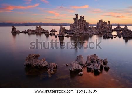 Calcareous tufas in Mono Lake, California, USA - stock photo