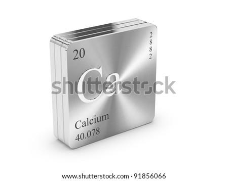 Calcium - element of the periodic table on metal steel block - stock photo