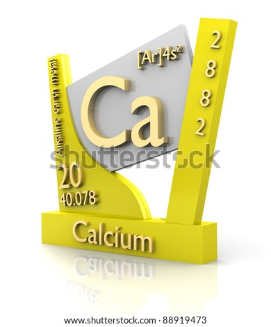 Calcium form Periodic Table of Elements - 3d made - stock photo