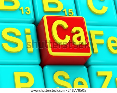 Calcium on background vitamins and minerals - stock photo