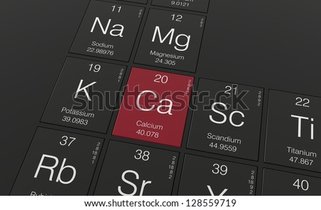 Calcium place in the periodic table - stock photo