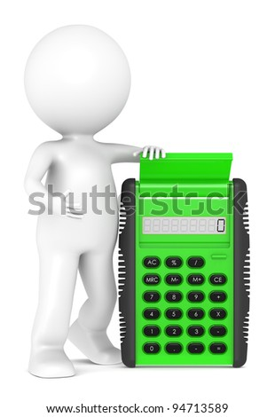 Calculate. 3d little human character with a Green Calculator. Semi transparent plastic. People series - stock photo