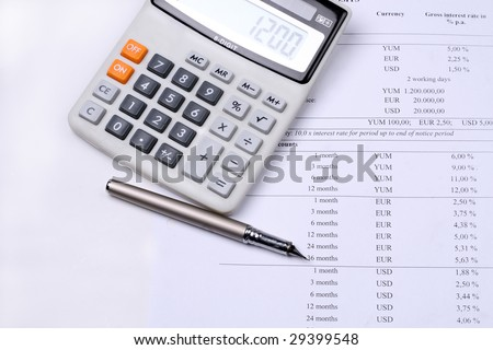 Calculating interest / tax / credit rate - stock photo