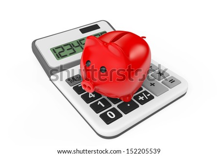 Calculating Savings Concept. Piggy Bank with calculator on a white background - stock photo