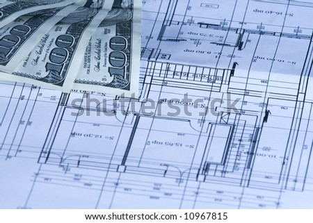 Calculating the house building cost on the blueprints
