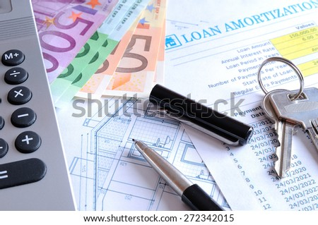 Calculation of mortgage loan for the purchase of a new house paid in euros - stock photo