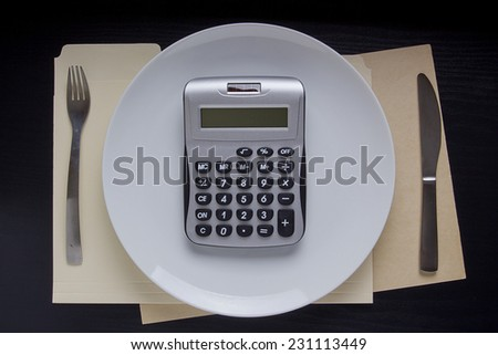 Calculation of the diet on a calculator. Plate with a calculator. - stock photo