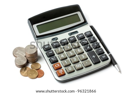 calculator, a stack of coins and pen isolated on white - stock photo