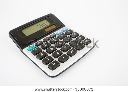 Calculator against white background with very soft shadow
