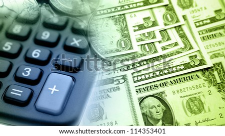 Calculator, American banknotes and coins - stock photo