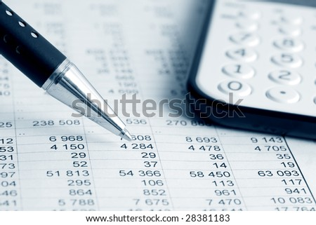 Calculator and analyzing of financial data. - stock photo