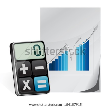calculator and business graph illustration design over white - stock photo