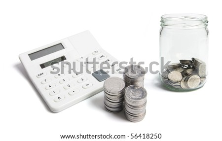Calculator and Coins on White Background