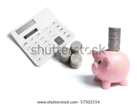Calculator and Coins on White Background - stock photo