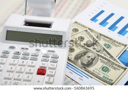 Calculator and diagrams. Finance and accounting business