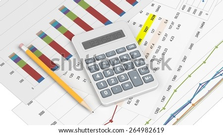 Calculator and documents with info charts and pencil
