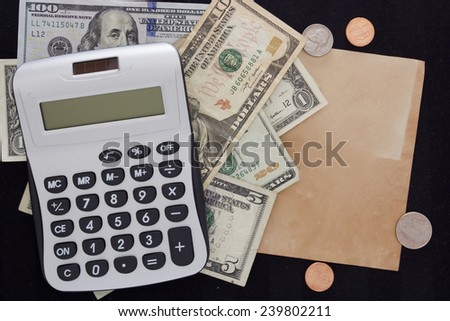Calculator and dollars with an additional blank sheet of paper for information. - stock photo