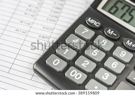 Calculator And Financial Document