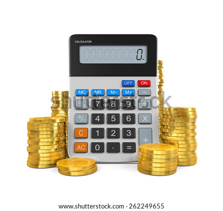 Calculator and Gold Coins - stock photo