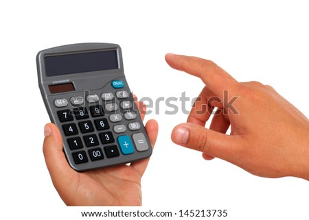 Calculator and hand isolated over white.