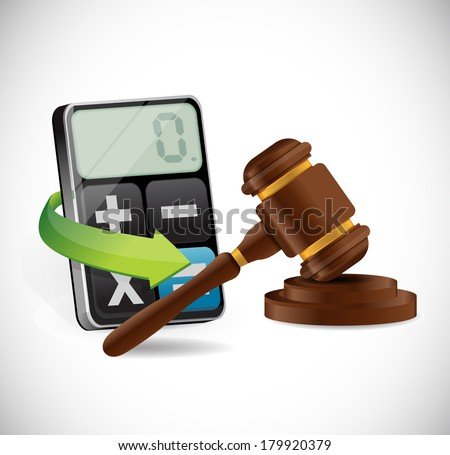 calculator and law hammer illustration design over a white background - stock photo
