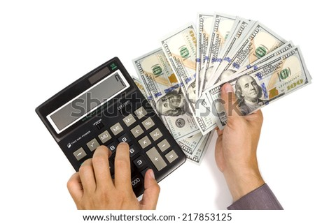 Calculator and money in businessman's hands isolated on white background - stock photo