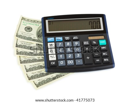 Calculator and money isolated on white background