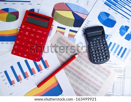 Calculator and office objects. Accounting and financial service. - stock photo