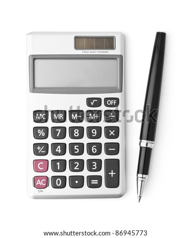 Calculator and pen isolated on white - stock photo