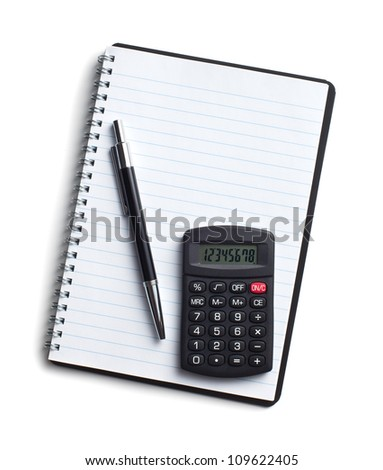 calculator and pen on blank notebook. Shot on white background - stock photo