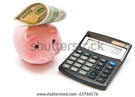 Calculator and piggy bank with 100 dollars, isolated on white. - stock photo