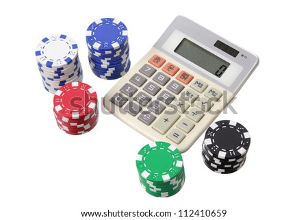 Calculator and Poker Chips on White Background