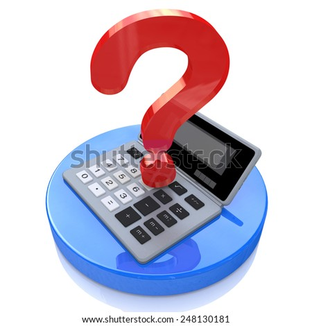Calculator and question mark  - stock photo