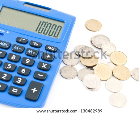 Calculator and thai coins on white background.