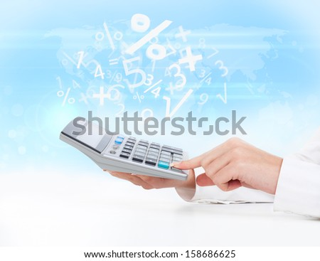 calculator business woman accountant hand touch, concept finance percent over abstract blue background - stock photo