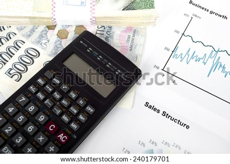 calculator, charts, pen, business workplace, business background collage - stock photo
