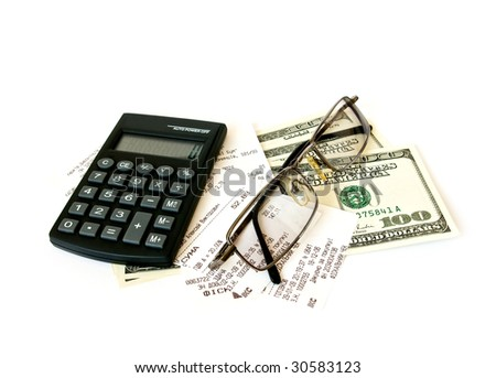 Calculator, checks and dollars on white background