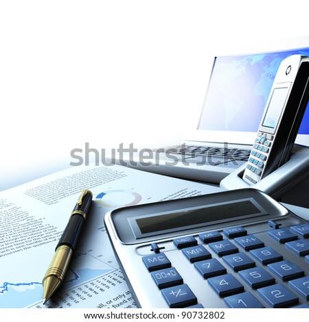 Calculator computer and telephone - stock photo