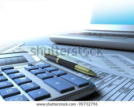 Calculator, computer, pen. - stock photo