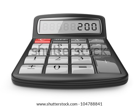 Calculator 3D. Science object. Isolated on white background - stock photo