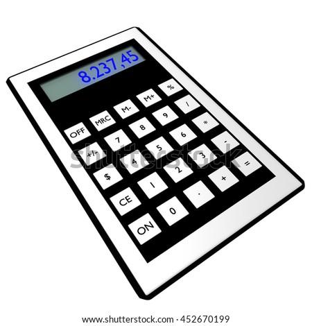 calculator, 3dIllustration  - stock photo