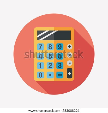calculator flat icon with long shadow - stock photo
