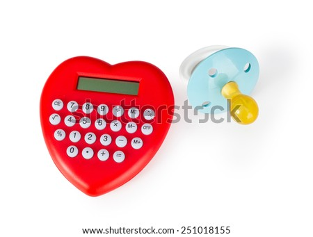 Calculator heart shaped and pacifier. Concept of expenses to support sons. - stock photo