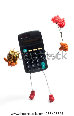 Calculator holding golden gift box and flowers isolated on white - stock photo