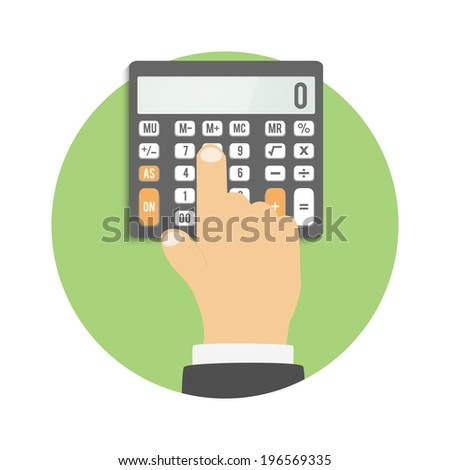 Calculator icon. Business concept businessman considers on the calculator. Raster version - stock photo