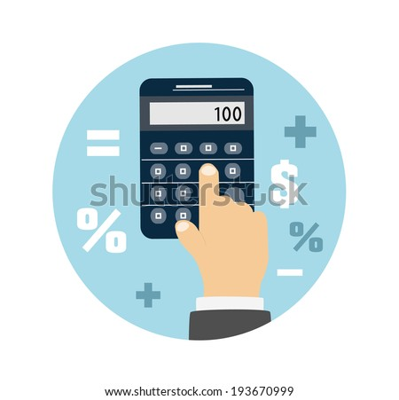 Calculator icon. Business concept with mathematics. Raster version - stock photo
