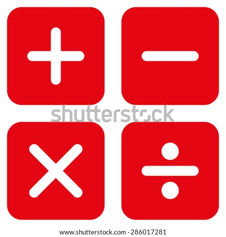 Calculator icon from Business Bicolor Set. This flat glyph symbol uses red color, rounded angles, and isolated on a white background. - stock photo